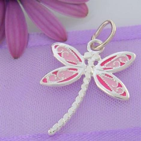 STERLING SILVER 16mm PINK DRAGONFLY CHARM PENDANT -SS_CP_JC-EW460
