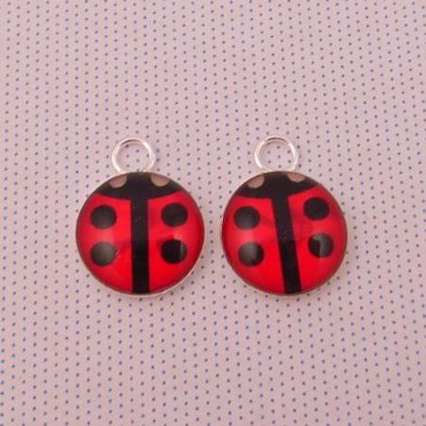 1 x PAIR STERLING SILVER 10mm ROUND LADYBUG SLEEPER CHARMS
