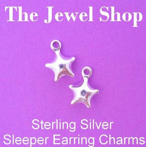1 x PAIR STERLING SILVER 7mm STAR SLEEPER CHARMS