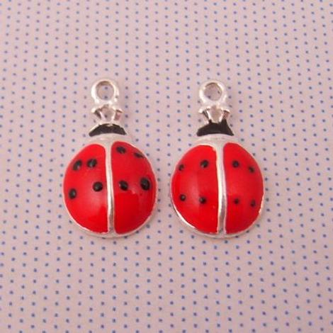 1 x PAIR STERLING SILVER 8mm LADYBUG SLEEPER CHARMS