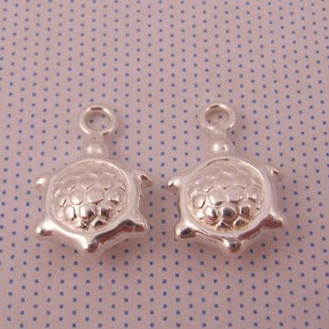 1 x PAIR STERLING SILVER 8mm TURTLE SLEEPER CHARMS