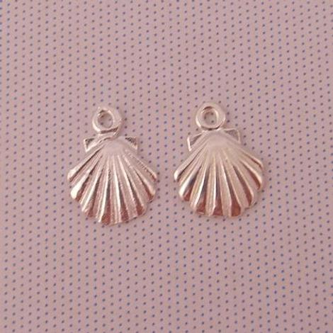 1 x PAIR STERLING SILVER 9mm SHELL SLEEPER CHARMS