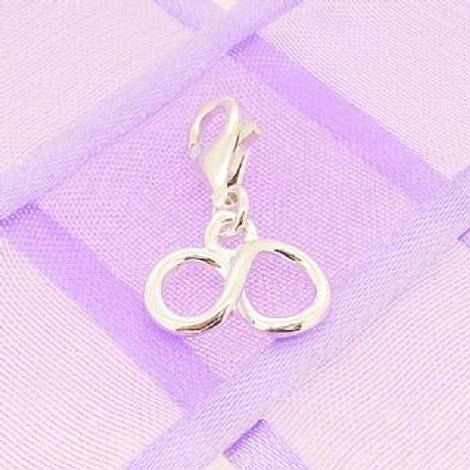 STERLING SILVER 12mm INFINITY SYMBOL DESIGN CLIP ON CHARM