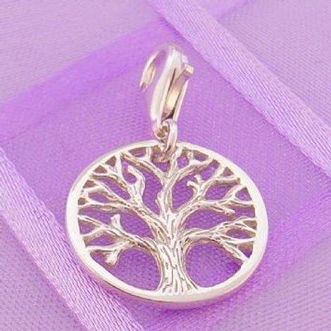 STERLING SILVER 14mm TREE OF LIFE CLIP ON CHARM PENDANT -925-54-706-10094