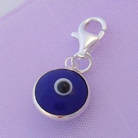 9mm BLUE EVIL EYE LUCKY CLIP ON CHARM STERLING SILVER