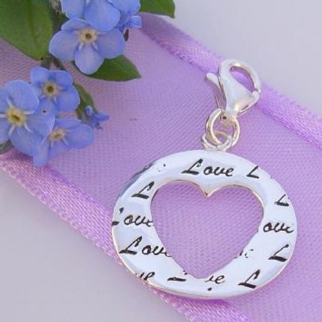 STERLING SILVER 16mm LOVE CIRCLE HEART CLIP ON CHARM 925-54-706-8768