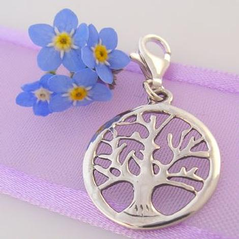STERLING SILVER 16mm TREE OF LIFE CLIP ON CHARM PENDANT - 925-17-1063-238