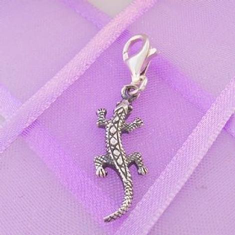 STERLING SILVER 6mm x 22mm FAMILY PET LIZARD GECKO CLIP ON CHARM - 925-54-706-9786