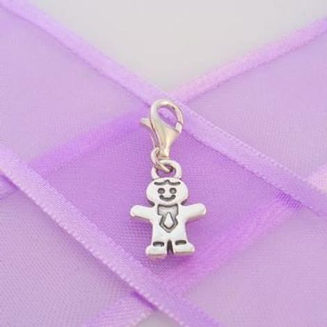 STERLING SILVER 9mm x 15mm FAMILY LITTLE BOY BROTHER SON CLIP ON CHARM - TI-03506