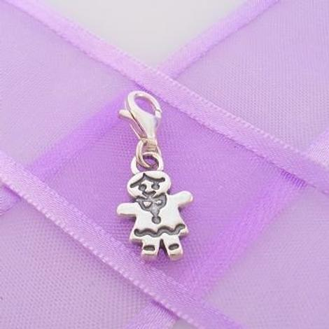 STERLING SILVER 9mm x 15mm FAMILY LITTLE GIRL DAUGHTER SISTER CLIP ON CHARM - TI-03504