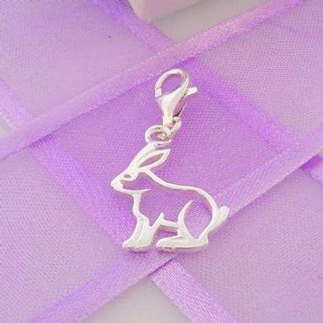 STERLING SILVER 13mm x 18mm FAMILY PET BUNNY RABBIT CLIP ON CHARM - 925-54-706-5933