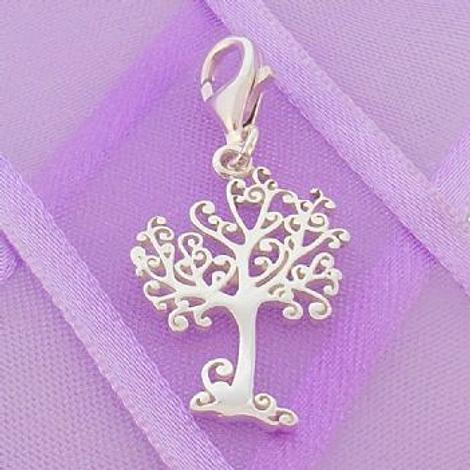 STERLING SILVER 14mm x 20mm TREE OF LIFE CLIP ON CHARM -925-54-706-10288