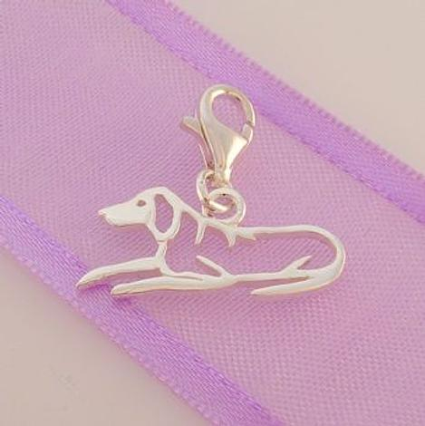 STERLING SILVER 20mm x 10mm FAMILY PET DOG PUPPY CLIP ON CHARM - 925-54-706-5935