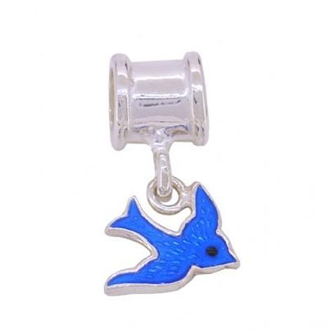 STERLING SILVER 10mm BLUEBIRD HAPPINESS BEAD CHARM