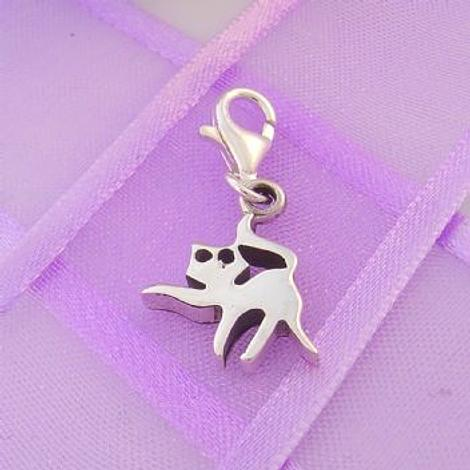 STERLING SILVER 13mm x 15mm FAMILY PET CAT KITTEN PUSSY CLIP ON CHARM - 925-54-706-1994