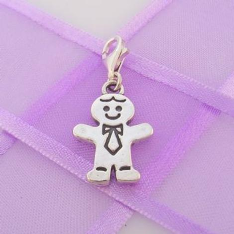 STERLING SILVER 13mm x 20mm FAMILY MAN DAD FATHER CLIP ON CHARM - TI-03507