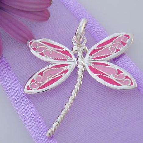 STERLING SILVER 24mm PINK DRAGONFLY CHARM PENDANT -SS_CP_JC-P229