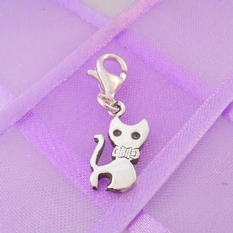 STERLING SILVER 7mm x 15mm FAMILY PET CAT KITTEN PUSSY CLIP ON CHARM - 925-122-1068-360
