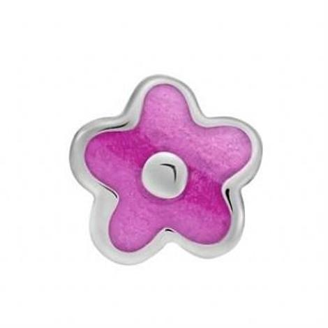 STERLING SILVER PASTICHE PETITE HOT PINK FLOWER BEAD CHARM -XE020PK