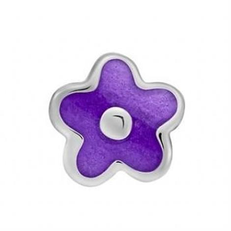 STERLING SILVER PASTICHE PETITE PURPLE FLOWER BEAD CHARM -XE020PU