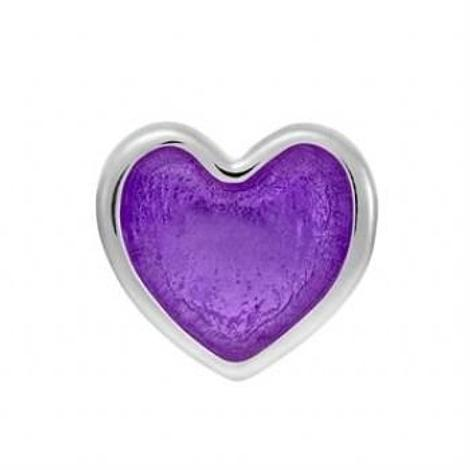 STERLING SILVER PASTICHE PETITE PURPLE LOVE HEART BEAD CHARM -XE018PU