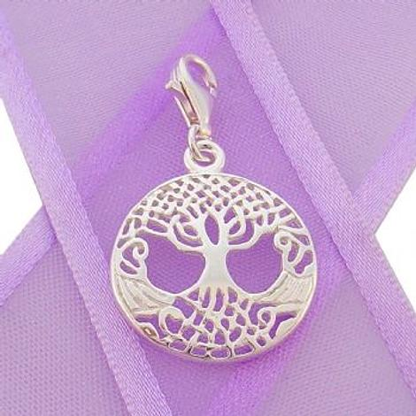STERLING SILVER 18mm CELTIC TREE OF LIFE CLIP ON CHARM PENDANT -925-KB53