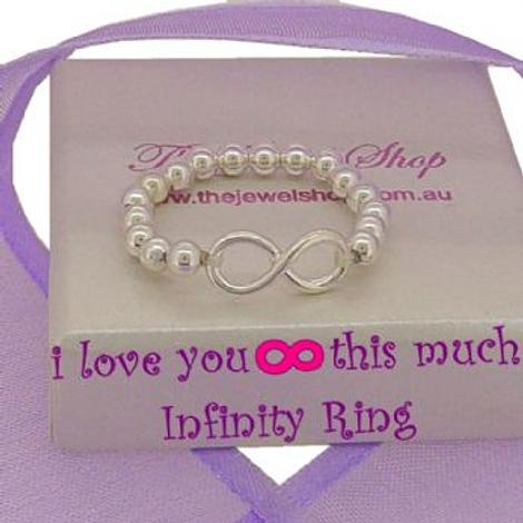 STERLING SILVER INFINITY SYMBOL BALL DESIGN CHARM RING