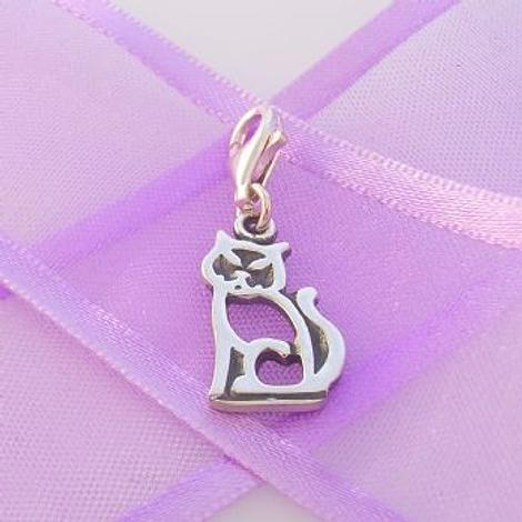 STERLING SILVER 10mm x 17mm FAMILY PET CAT KITTEN PUSSY CLIP ON CHARM - TI-09105