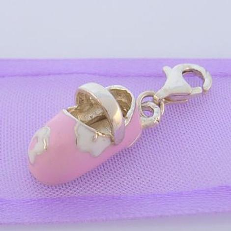 STERLING SILVER 8mm x 17mm PINK BABY SHOE CLIP ON CHARM - 925-54-983-331