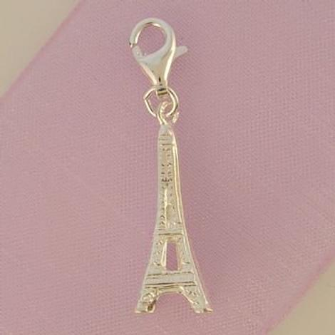 STERLING SILVER EIFFEL TOWER HOOKED ON CLIP CHARM PENDANT -HR267