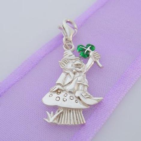 STERLING SILVER LUCKY LEPRECHAUN & CLOVER CLIP ON CHARM 925-125-1076-7