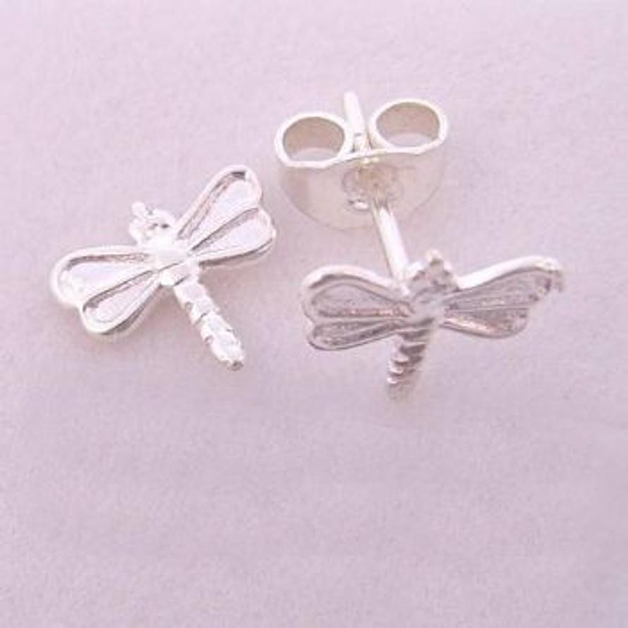 STERLING SILVER BABY 9mm DRAGONFLY CHARM STUD EARRINGS