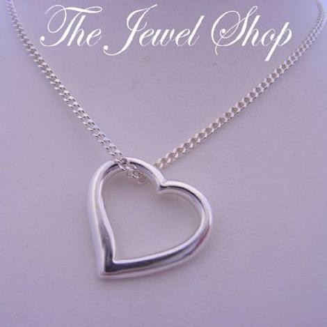 15mm SWING HEART CHARM CURB NECKLACE STERLING SILVER