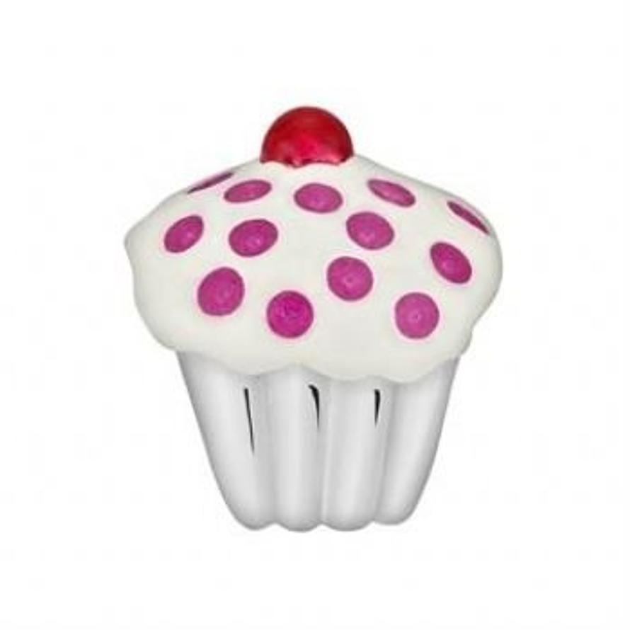 STERLING SILVER PASTICHE PETITE CUP CAKE BEAD CHARM -XE029PKRD