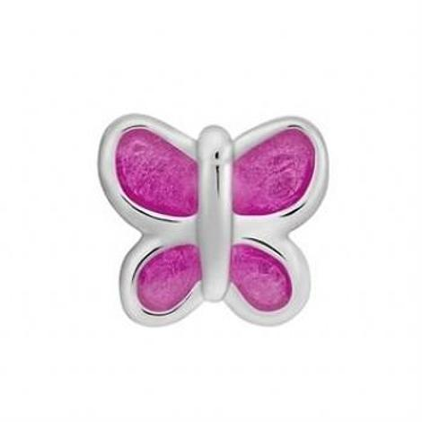 STERLING SILVER PASTICHE PETITE HOT PINK BUTTERFLY BEAD CHARM -XE021PK