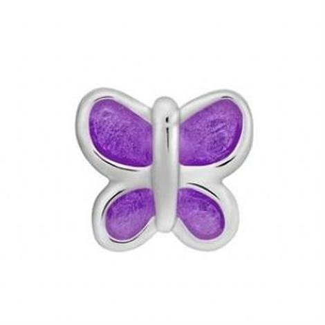 STERLING SILVER PASTICHE PETITE PURPLE BUTTERFLY BEAD CHARM -XE021PU