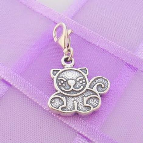 STERLING SILVER 15mm x 15mm FAMILY PET CAT KITTEN PUSSY CLIP ON CHARM - TI-01231