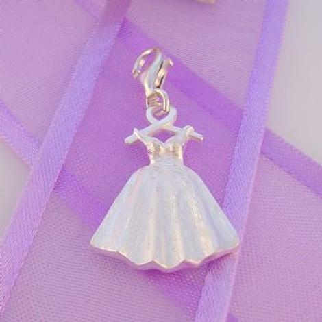 STERLING SILVER 16mm x 24mm DEBUTANTE WEDDING DRESS CLIP ON CHARM -925-54-706-10132