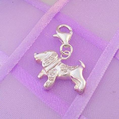 STERLING SILVER 18mm x 13mm FAMILY PET DOG PUPPY CLIP ON CHARM - 925-53-701-4488