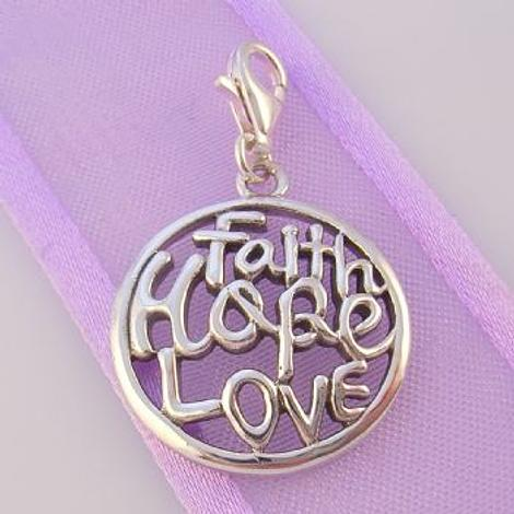 STERLING SILVER 19mm FAITH HOPE LOVE CLIP ON CHARM PENDANT - 925-54-706-9936