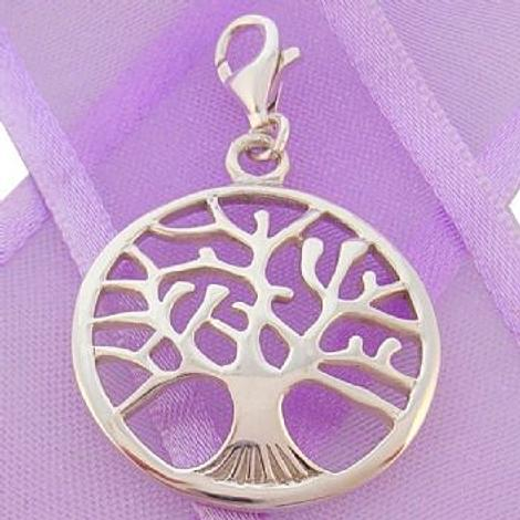 STERLING SILVER 22mm TREE OF LIFE CLIP ON CHARM PENDANT -925-54-706-9649