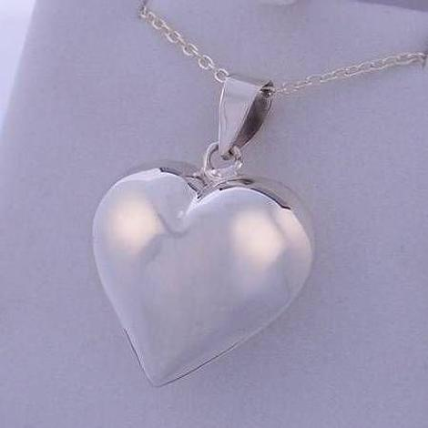 19mm STERLING SILVER PUFF HEART PENDANT CHARM NECKLACE