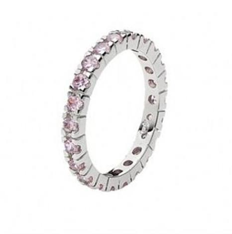 PASTICHE STERLING SILVER PINK CZ ETERNITY RING -R582PCZ