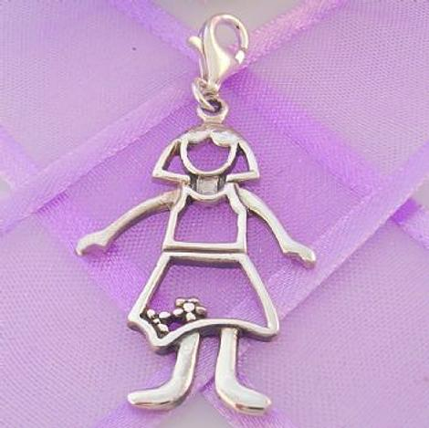 STERLING SILVER 18mm x 32mm FAMILY WOMAN MUM MOTHER CLIP ON CHARM - 925-54-706-4823MUM
