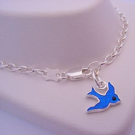 17cm ADJUSTABLE SIZE STERLING SILVER BLUEBIRD OF HAPPINESS CHARM BELCHER BRACELET