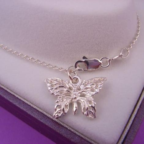 2.5g STERLING SILVER 17mm BUTTERFLY CURB ANKLET 28cms
