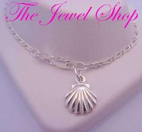STERLING SILVER 9mm SHELL CHARM FIGARO ANKLET 27cm