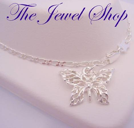 2.9g STERLING SILVER 17mm BUTTERFLY FIGARO CURB ANKLET 27cms