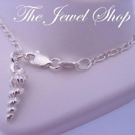 STERLING SILVER SEA SHELL CHARM FIGARO ANKLET 27cm