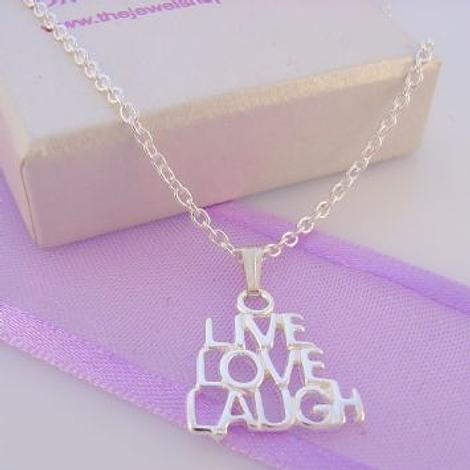 STERLING SILVER LIVE LOVE LAUGH CHARM CABLE NECKLACE